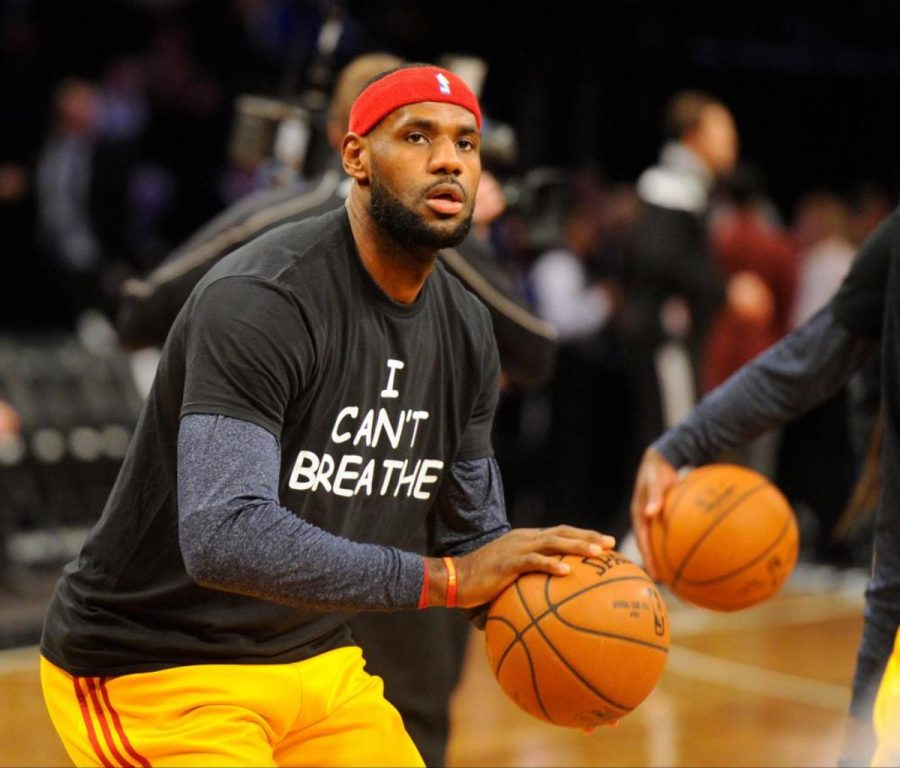 In+response+to+the+death+of+Eric+Garner%2C+NBA+players+including+Lebron+James+wore+%E2%80%9CI+Can%E2%80%99t+Breathe%E2%80%9D+shirts.+Eric+Garner+died+after+police+told+him+he+could+not+sell+cigarettes+on+the+streets+of+New+York.+He+died+from+a+heart+attack+after+his+chest+compressed.+