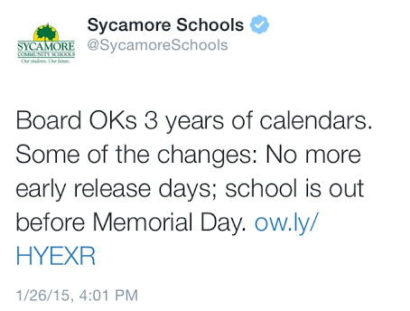 The Sycamore Community schools twitter tweets some startling news for students. The academic calendars have been changed. These new changes will be effective in the 15-16 school year.