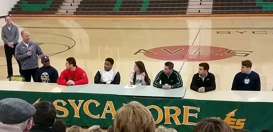 Eight+SHS+athletes+signed+to+continue+their+athletic+careers+in+college+on+Thurs.+Feb+fifth.+Each+player+was+talked+about+by+his%2Fher+coach%2C+and+gave+a+speech+to+the+almost+full+gymnasium.+