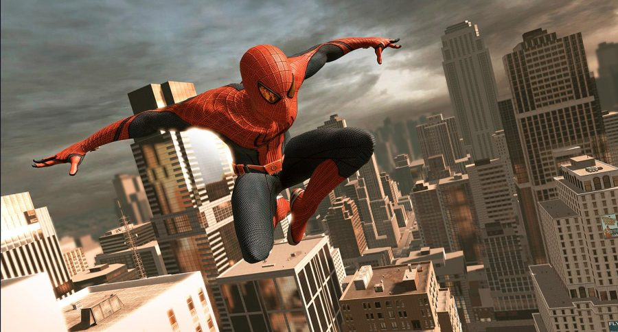 Spider-Man leaps across building tops in his titular video game. The hero is not only popular in movies, but in merchandise. Web-shooters and masks follow fans wherever they go.