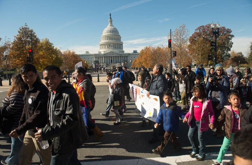 Latin American immigrants march on the streets of Washington in front of the Capital building. While immigrants from Latin America are not the only undocumented immigrants, they definitely make up the vast majority.