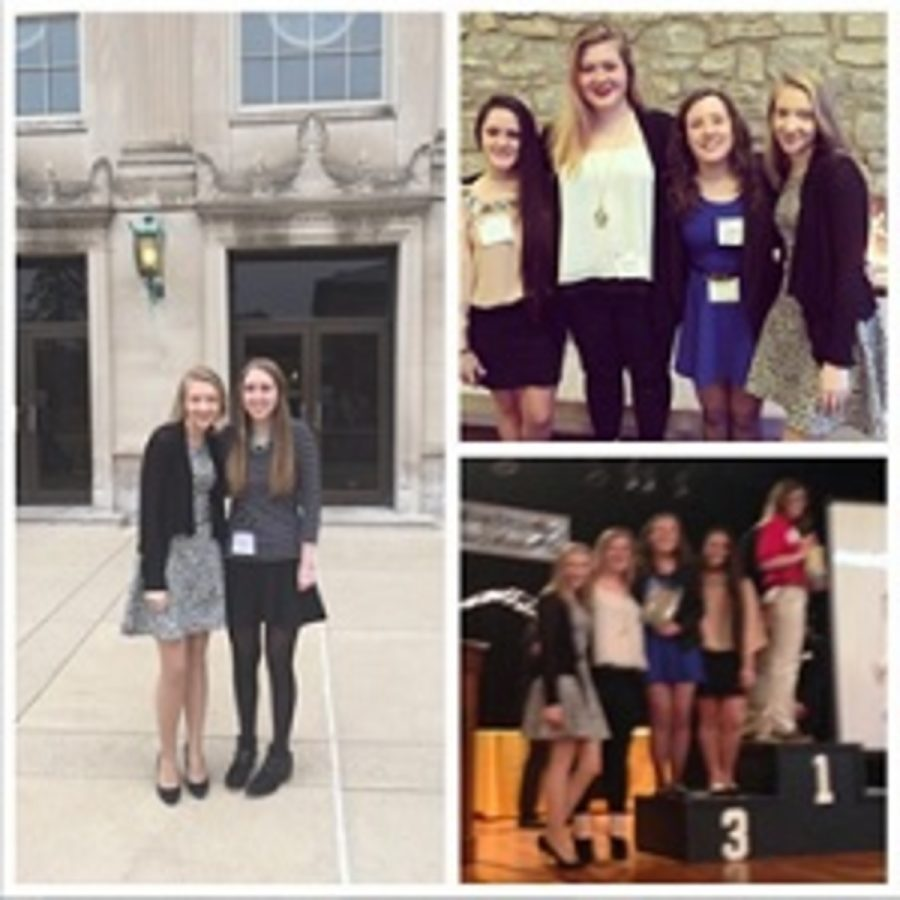 Right hand picture of teaching students and juniors Abby Bonhaus and Katelyn Young. Upper left photo of group of juniors Liseth Garcia, McKella Varley, Emma Enderle, and Bonhaus. Bottom left picture of students at awards ceremony, same group as listed left above. Photo Courtesy of: Abby Bonhaus