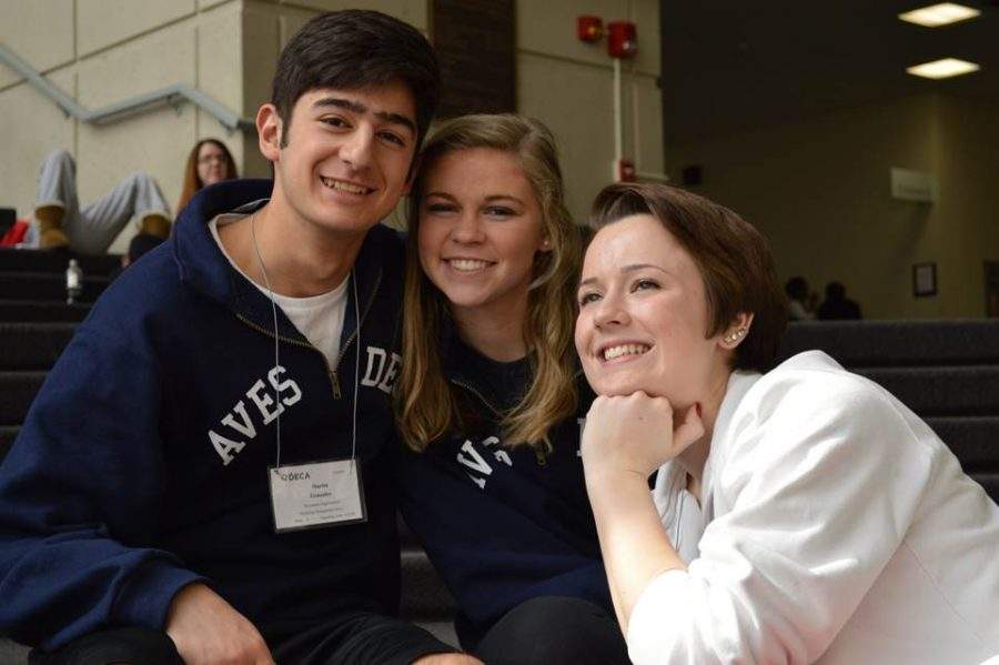 Juniors Margret Skwara, Martin Gonzales and Julia Diersing relax in the atrium of the Hyatt Regency in Columbus while they wait to see if they advance to the final round of the competition. Out of the 59 students who went to the state competition 33 placed in the top 10 in their event. Out of the 33 who placed in the top  10, 16 advanced to Internationals, held in Orlando.