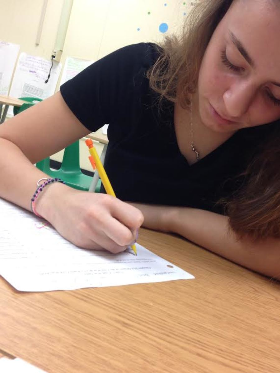 Sophomore Cagla Akcadag works hard in class. Many teachers have dedicated time to review for SLO tests. These tests are graded and cause a lot of students extra stress.
