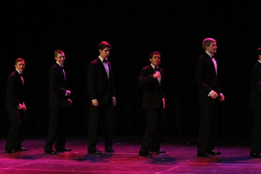 Last year's Mr. Sycamore participants perform their group dance to Bye Bye Bye by InSync. The sixth annual event is being held on Friday, April 10. Admission is $5.