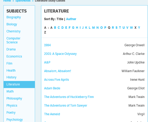 Sparknotes is one of the most popular way for students to gain supplementary material.  Teachers often spend time on Sparknotes so they can accurately identify which students have actually read their assigned books.