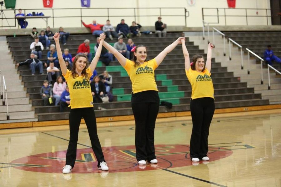 """Seniors Leah Brod, Emily Spry, and Kathryn Tenbarge taking their bow. """"I have been on the team with these two girls for years and have gotten really close with them so it is going to be really hard to not be dancing with them next year,"""" Brod said. """"We do everything together."""""""