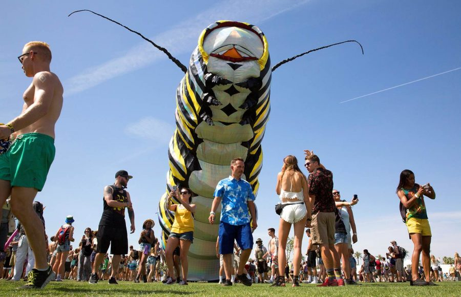 """People from all across the country come out to go to Coachella. Artists and bands play for two weekends in April, as well as art being displayed. The sculpture shown is called """"Papilio Merraculous""""."""