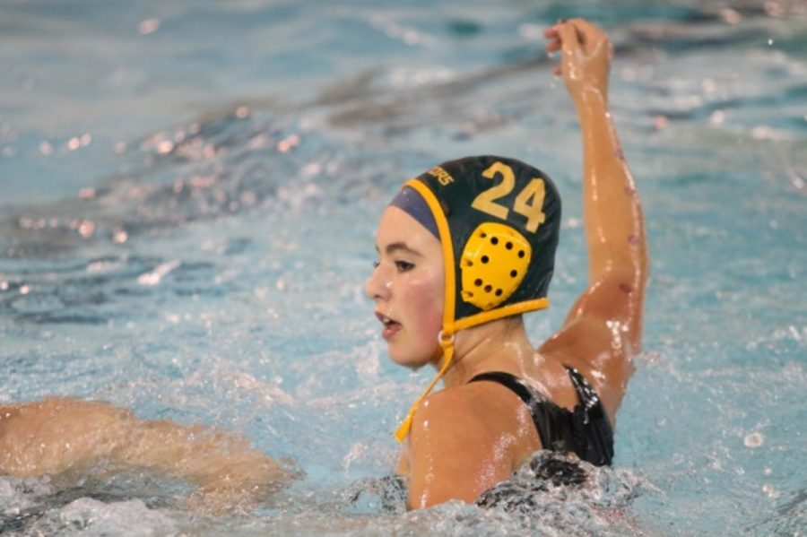 Junior Hannah Schwegmann waits for a pass from a fellow team mate. Schwegmann has been a part of Moose water polo's junior Olympic team in the past. This year, she tried out to be a part and was selected for the Olympic Development program for water polo. Photo by McDaniel's Photography.