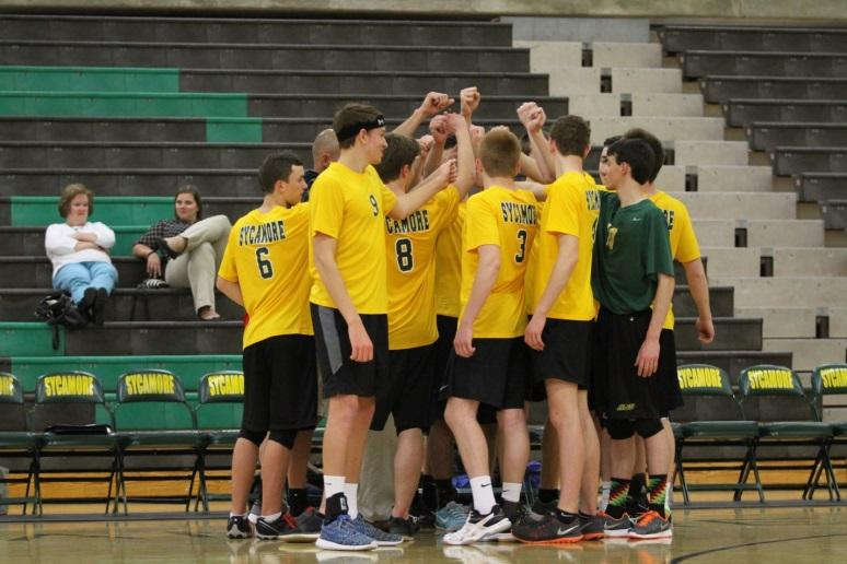 """The team does a cheer before continuing the game after a time out. Their current record is four and four and their goal is to make it to the state regional semi-finals. """"I would like to go to the state regional semi-finals so we can take on a Catholic school. Catholic schools notoriously have really strong volley ball programs,"""" Coach Brady Schuler said."""