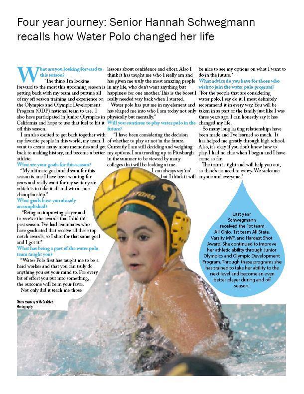 Four year journey: Senior Hannah Schwegmann recalls how Water Polo changed her life