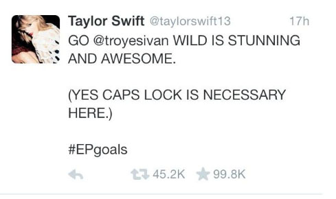 Pop-star Taylor Swift tweeted Troye promoting his EP on Sunday night. This lead many of Swift's fans to check out Sivan's music and music video, apparent through the various comments of her sending them there on his video. Sivan replied with his own tweet of speechlessness later that night.