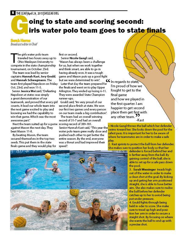 Going to state and scoring second:  girls water polo team goes to state finals