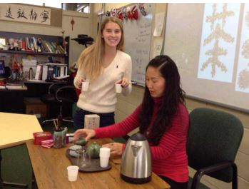 Senior Abbey Mcgowan and Chinese Club Volunteer Mrs. Wang Chinese Club meets every other Friday, in room 247.  To become a member costs 5 dollars, and to attend just one event is 2 dollars.