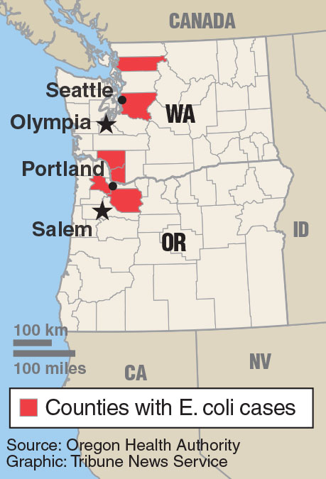 Map+of+counties+with+reported+E.+coli+cases+in+Oregon+and+Washington.+Tribune+News+Service