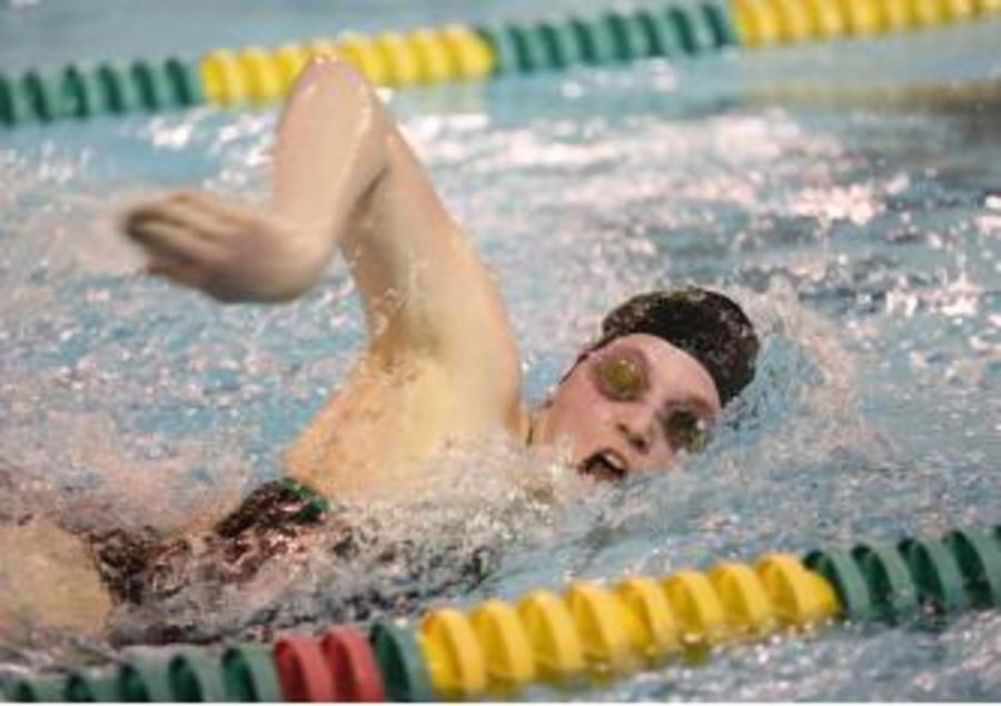 Senior Elizabeth Walden swims the 50 freestyle in last year's duel meet. Walden is one of nine girl senior this year. After losing twelve senior boys last year and nine senior girls after this year, the team will need a lot of new members to stay on top.