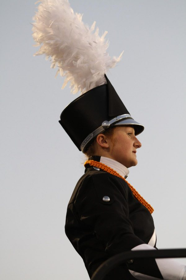 Drum+major+Gwen+Constand+performs+at+halftime+during+the+football+game.+The+band+performs+every+home+football+game.+This+show+is+the+same+that+is+performed+during+competitions.