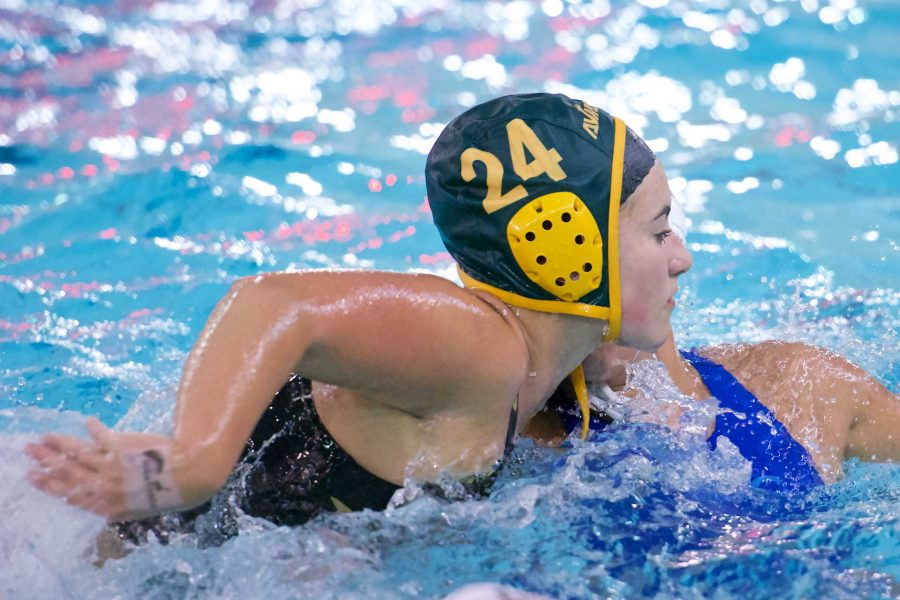 Senior+Hannah+Schwegmann+plays+defense.+Schwegmann+has+been+a+part+of+the+Varsity+team+since+her+freshman+year.+She+is+considering+playing+water+polo+at+the+collegiate+level.%0A