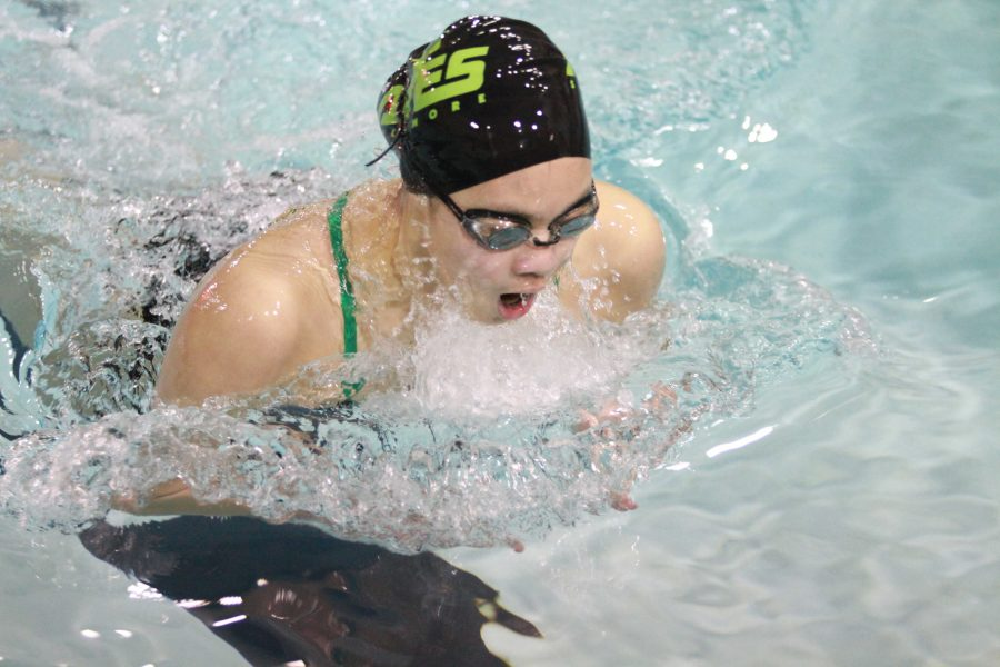 Senior Priscilla Wu competes in a breaststroke event at a dual meet. Wu was an individual qualifier for the State Championship meet. She also competed on two top eight relays.