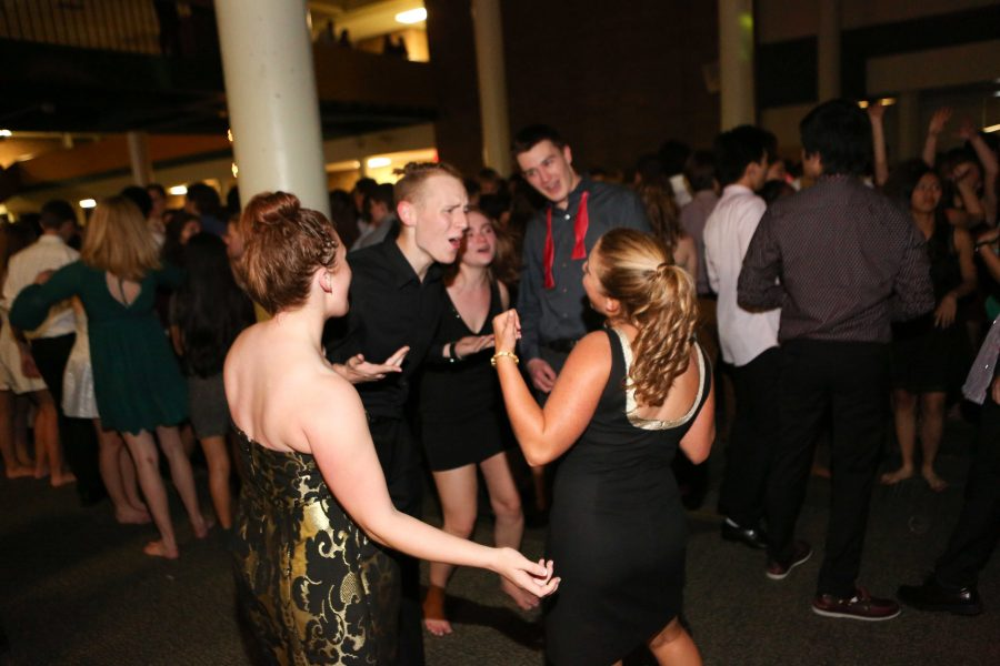 """Seniors Gwen Constand, Calob Francis, Mackenzie McMullen, Brooke Landrum, and Garrett Cambre dance to the music. McMullen said, """"Homecoming was really fun this year. The music was awesome and I went with a great group of people who were really into dancing."""""""