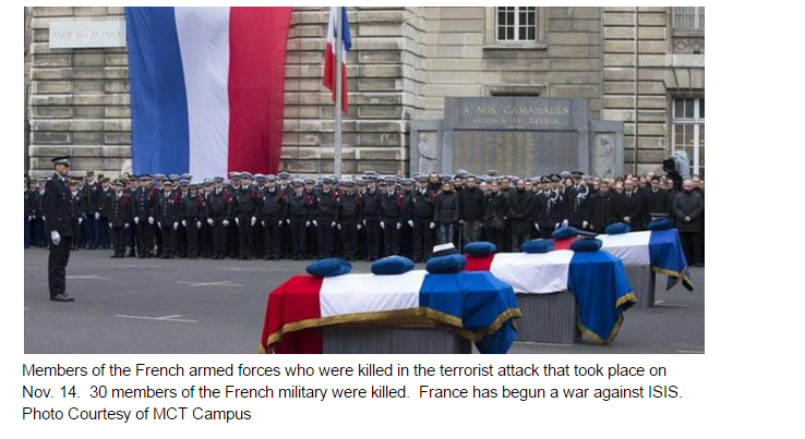 Members of the French armed forces who were killed in the terrorist attack that took place on Nov. 14.  30 members of the French military were killed.  France has begun a war against ISIS.