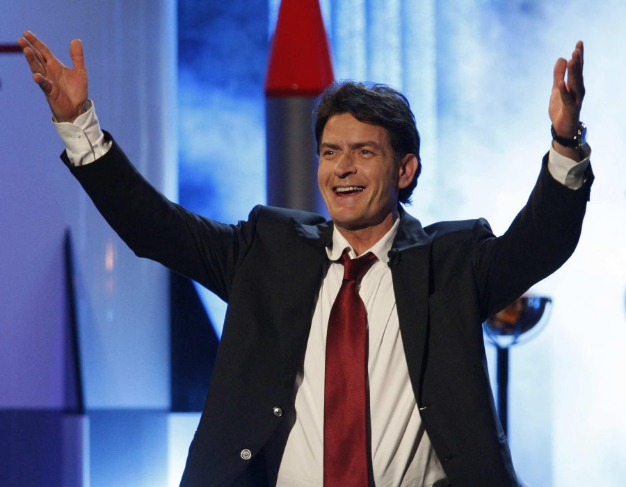 Charlie Sheen presenting an award for the 63rd Annual Primetime Emmy Awards on Sun., Sept. 18, 2011. It was at Nokia Theatre, L.A. Live, in Los Angeles, California. He has recently come out with being diagnosed with H.I.V.