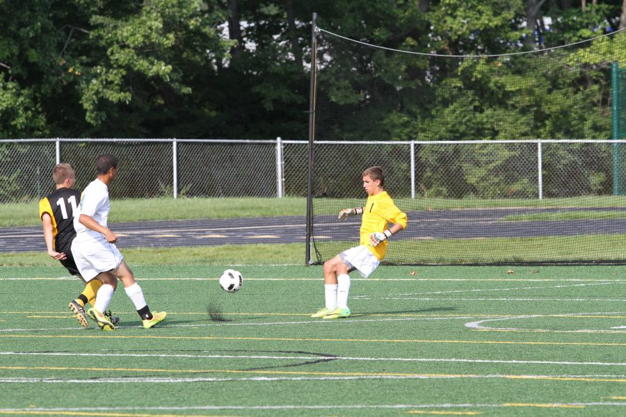 Sophmores Walid Bawizar, and Brian Cron.  During   a  JVB game last year. Bawizar and  Cron are on JVA this year. Bawizar is a defensive player, and Cron is the goalie.