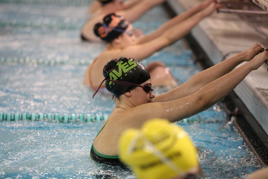 Gould in the SHS pool, pictured before the start of her 100 backstroke. Gould is a backstroker and sprint freestyler on the team. She was apart of the 200 MEdley state relay last year.