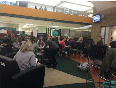 Students assembled in the IMC to watch Mott's one hour presentation. As well as talking about his own experiences around the world, Mott shared with the students how they could become citizens of the world. He challenged the students to communicate with each other and share cultures.