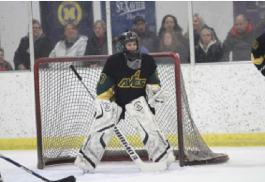 Junior Tevis Leavy protects the goal at a home game against Norse High School. Tevis hopes to lead the team next year to a winning record. The team will finish out their season in early Feb.
