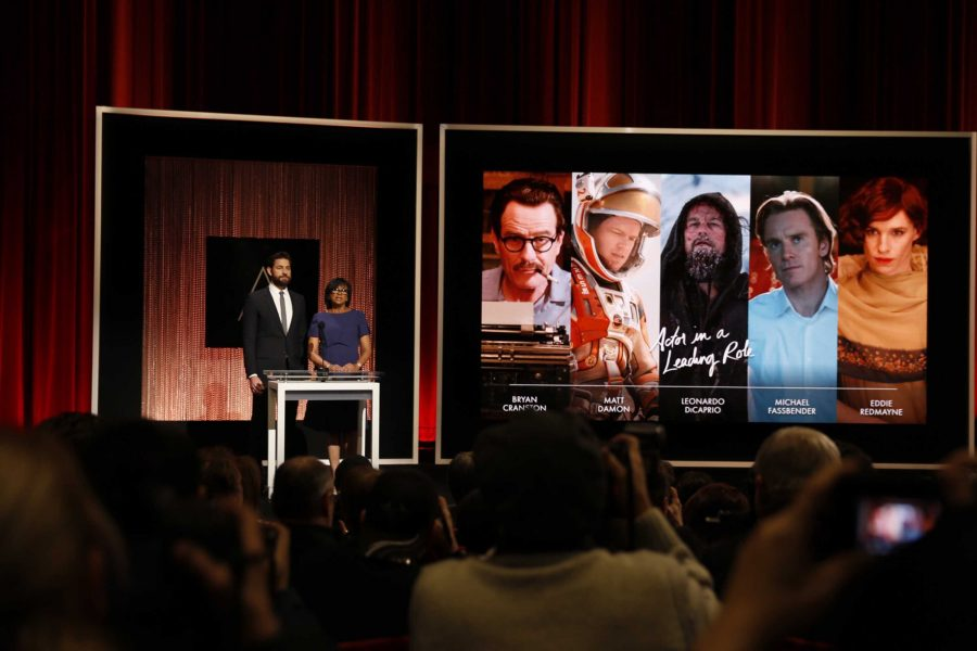 Actor John Krasinski and Academy president Cheryl Boone Issacs announce the nominees for Best Actor. It is hopeful that Leonardo DiCaprio might finally win an Oscar after his fifth nomination.  Bryan Cranston's nomination has been criticized as being merely adequate and an actor of color could have taken his place instead.