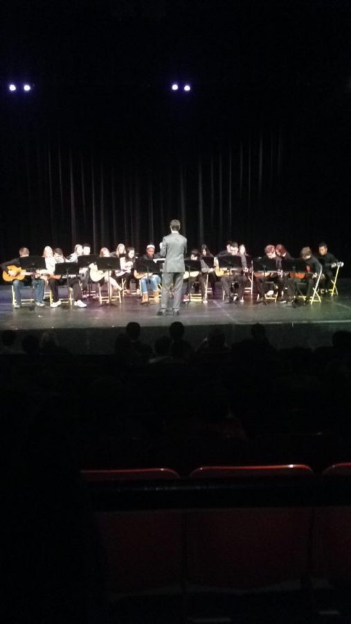 Guitar+I+students+play++a+song.+The+concert+occured+on+Thurs.%2C+Dec.+11+during+7th+bell.+It+was+directed+by+guitar+teacher+Zachary+Starkie.+