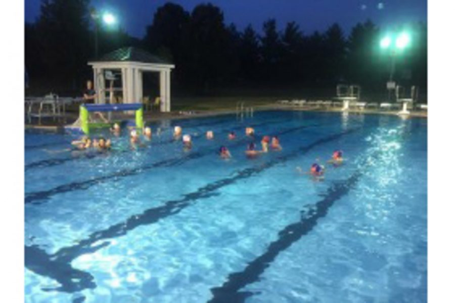 The ladies Moose Water Polo team practices on a Tuesday night in June at their old venue, the Montgomery Swim and Tennis Club. This year, the team will practice at Princeton High School starting in April. This year, the ladies hope to recruit many new players in order to grow the popularity of the sport.