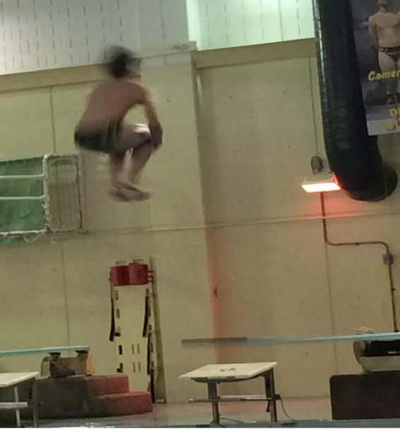 Senior+divers+Cameron+Foy+and+Thomas+Capouch+had+a+little+surprise+for+their+friends+during+the+swimming+and+diving+senior+night.+Both+used+their+last+dives+to+perform+belly+flops.+Foy+said%2C+%E2%80%9CIt+was+a+great+way+to+end+the+night.%E2%80%9D+