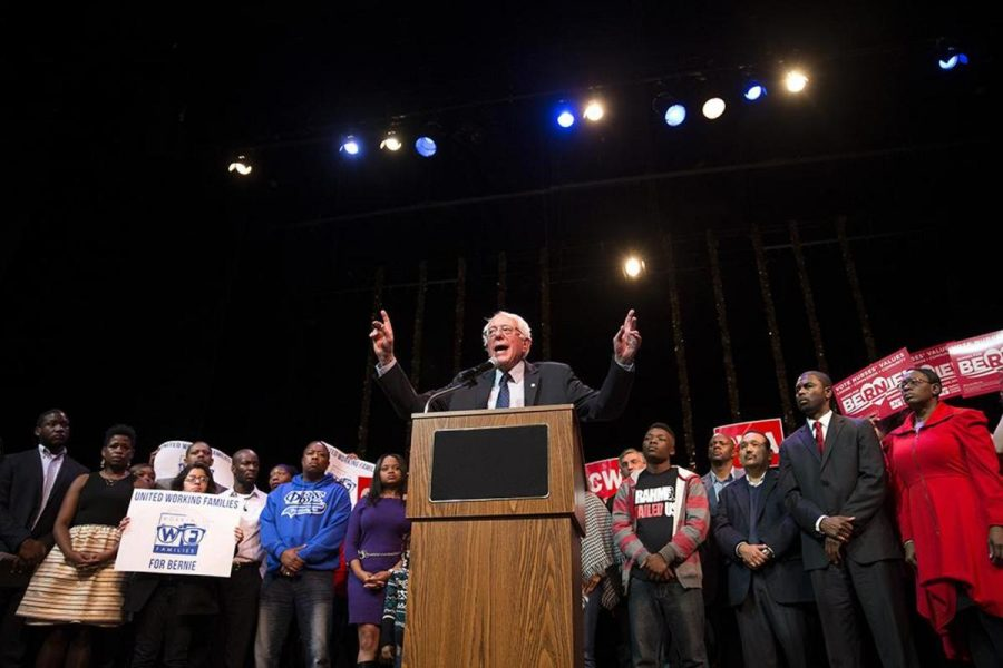 Bernie+Sanders+speaks+to+his+followers+at+a+rally.+Sanders+is+one+of+two+Democrats+still+in+the+race.+He+is+competing+against+Hillary+Clinton.+Both+the+Democratic+and+Republican+nomination+will+be+decided+in+Ohio+on+March+15.+