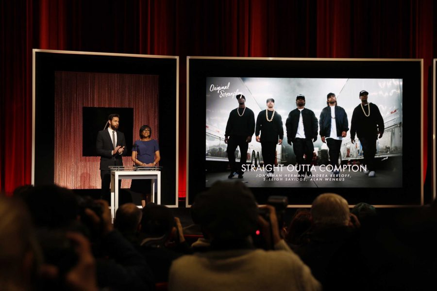 Actor+John+Krasinski+and+AMPAS+President+Cheryl+Boone+Isaacs+present+the+nominees+for+Best+Original+Screenplay+on+Jan.+14.+%E2%80%9CStraight+Outta+Compton%E2%80%9D+was+one+of+the+nominees%2C+however+there+have+been+complaints+that+the+piece+was+only+nominated+for+its+writing.+The+movie+was+written+by+Jonathon+Herman+and+Andrea+Hermoff%2C+who+are+both+white.