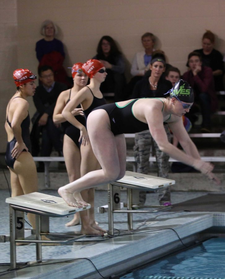 Senior Elizabeth Walden dives into the pool for a relay start. Walden went to State for the 200 medley relay. Her club team is the Cincinnati Aquatic Club. Photo by McDaniel's Photography.