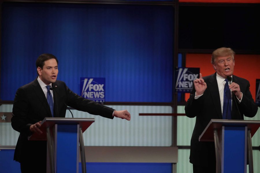 """Marco Rubio attacks Donald Trump at the March 3 Republican Debate in Detroit. Rubio and Trump were at each other's throats the entire time with Trump calling Rubio demeaning names like """"Little Marco."""" The behavior at this debate has been considered worse than at any that came before."""