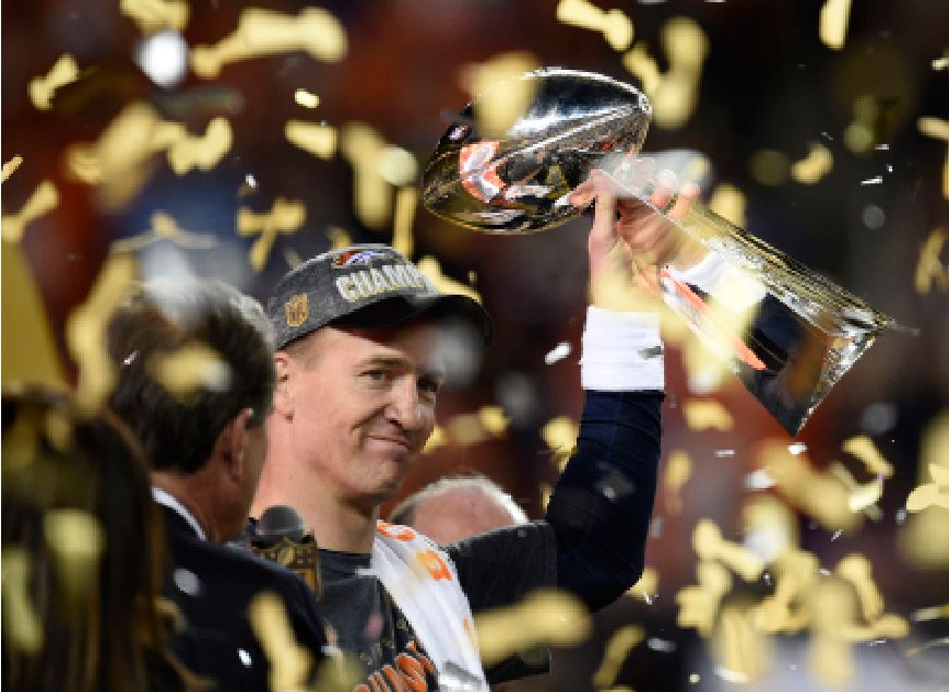 Football player Peyton Manning holds the Vince Lombardi trophy after the Broncos win Super Bowl 50. The Denver Broncos won 24-10 against the Carolina Panthers. Manning announced he was retiring after 18 years of his NFL quarterback career.