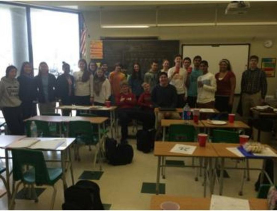 The+class+took+a+picture+after+their+pi+day+party+to+send+to+Mrs.+Smith.++The+all+had+had+their+fill+of+pi+by+then+and+continued+to+talk+the+rest+of+the+class.+%0A