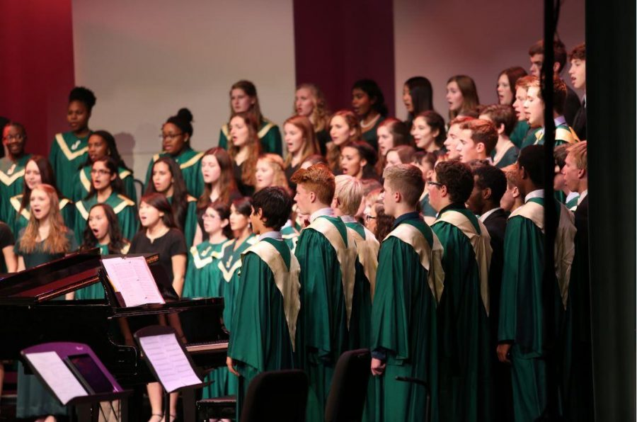 Combined choirs sing for the audience at the winter concert. Lots of hard work go into each concert. There are five performances each year.