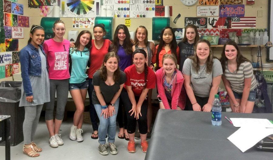 The new Aves Dance team poses for a photo during its team meeting on Thurs. April 21. They met to discuss money, talk about the gist of the team and the calendar for the year. The next time the team will meet will be for summer conditioning  practice.