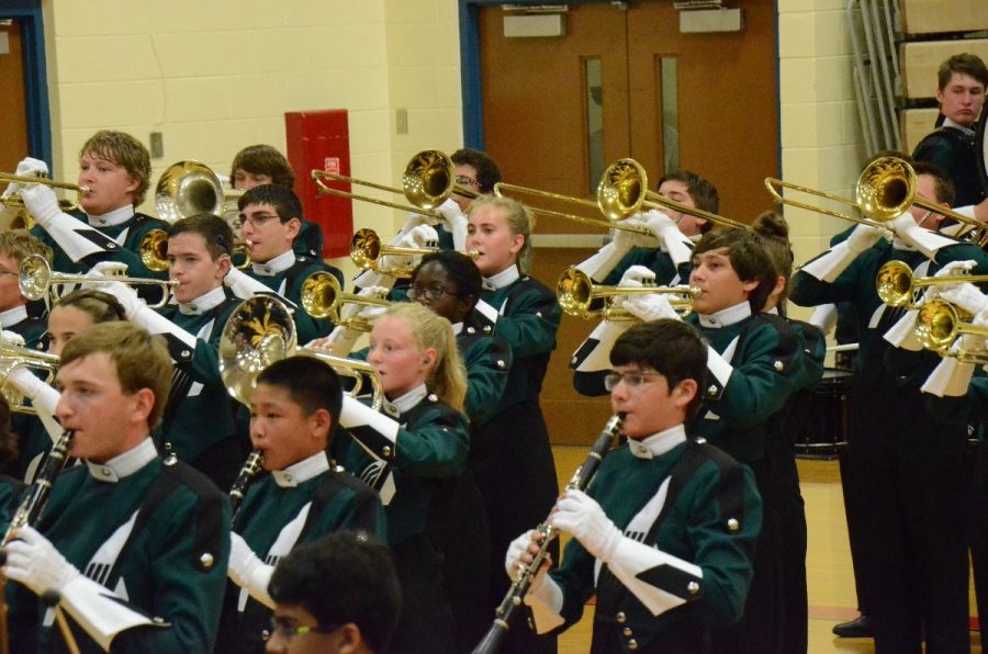 At King's High School, the marching band performs indoors. Rain, thunder, and lightening prevented the students from competing on their typical football field. It was a new experience for all of the freshman through seniors.