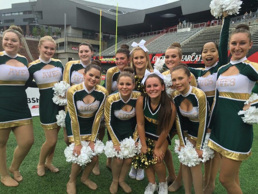 The Sycamore Aves Dance Team prepares for their first performance at the football game on Fri., Aug. 26 at the University of Cincinnati's Nippert Stadium. One of the team's goals this season is to increase their appearances to spread the word about the team. By performing at the football game, attended by thousands was a fun and simple way to do it.