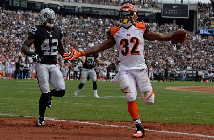 Jeremy Hill crosses the end-zone in a game last year against the Raiders. This year, Hill scored a touchdown in the Bengals season-opening win over the Jets. Cincinnati defeated New York 23-22.