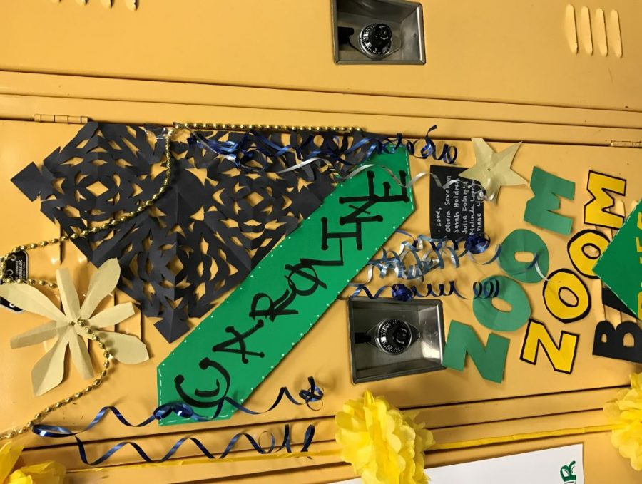 Seniors lockers are decorated by the underclassman as a sweet surprise. They contain inside jokes and great works of art. Small teams of girls decorate the lockers to get them finished more efficiently.