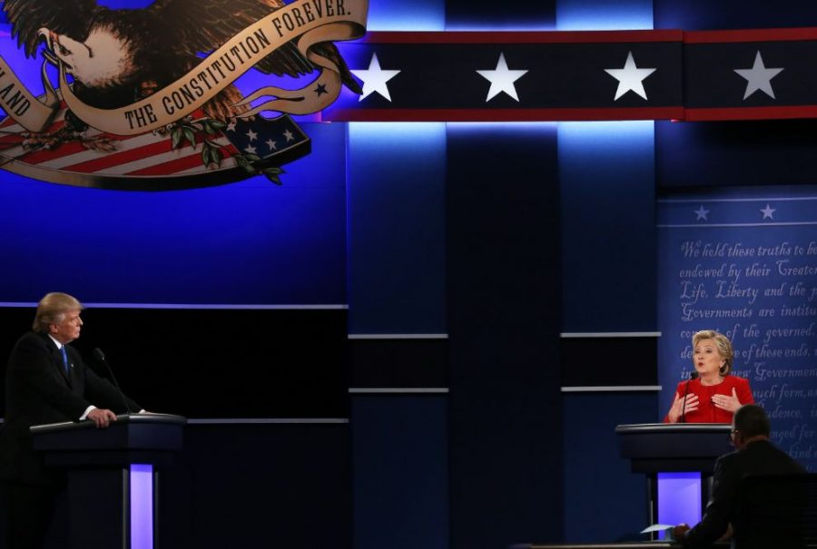 """Hillary Clinton and Donald Trump debate about the economy, taxes, race relations, and their respective histories. The debate was moderated by Lester Holt of """"NBC."""" Both contestants were on screen the whole time so that audiences could see both faces."""
