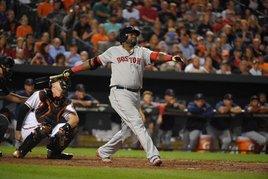 oston Red Sox designated hitter David Ortiz hits one of his famous home runs during a game versus the Baltimore Orioles on Sep. 19, 2016. He announced his retirement after a 19 year career before the start of this season. The whole baseball world honored him in a historic career for designated hitters.