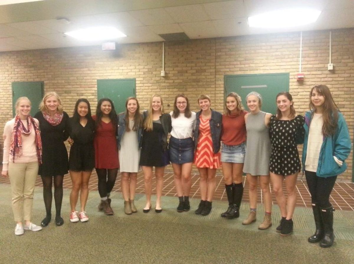 The senior girls dressed up for their senior night. Many shed tears as they said goodbye to their season and teammates. Although sad, they are looking forward to coming back and supporting their teammates in the future.