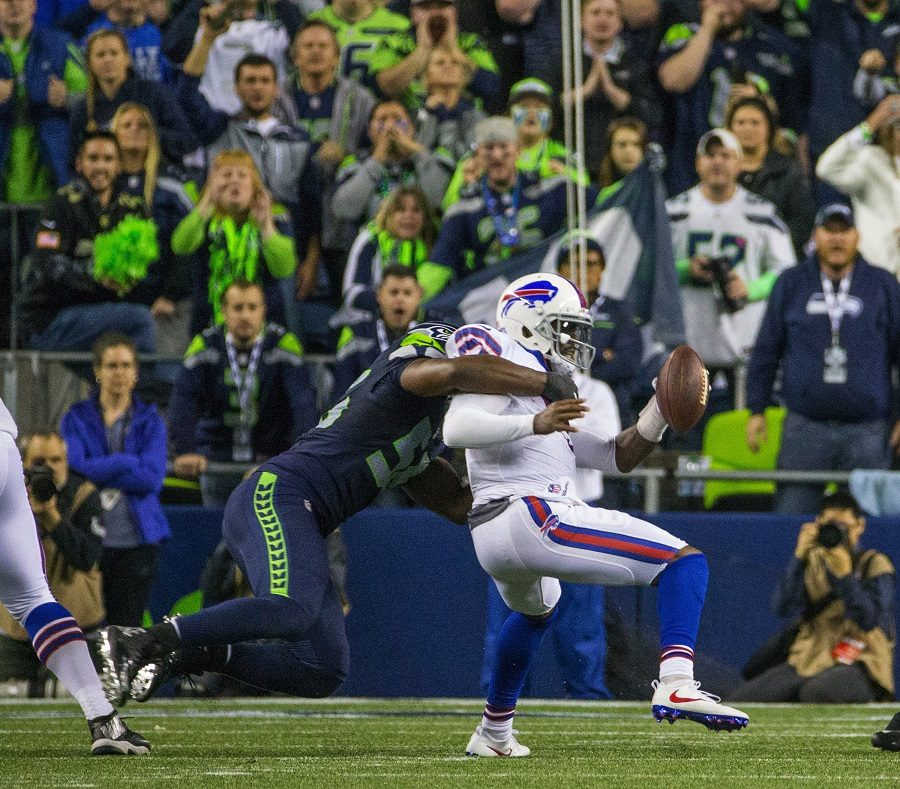 Seattle Seahawks defensive end Cliff Avril tackles Buffalo Bills quarterback Tyrod Taylor during the Monday night Football primetime games on November 7. There has been a hysteria going around the league about the ratings, especially during the lack of compelling primetime games. The drop in ratings come from factors in and out of the league.